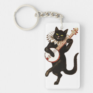 Cat Playing the Banjo Keychain