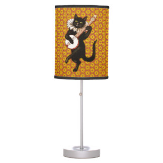Cat Playing the Banjo Table Lamp