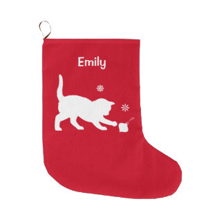 Cat Playing with a Christmas Ornament Large Christmas Stocking