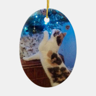 Cat playing with Christmas tree Ceramic Ornament