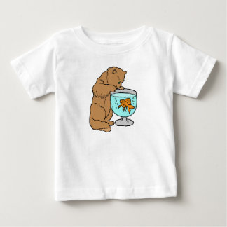 Cat playing with goldfish baby T-Shirt