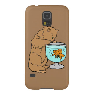 Cat playing with goldfish cases for galaxy s5