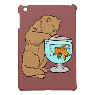 Cat playing with goldfish iPad mini covers
