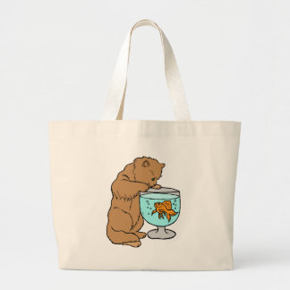 Cat playing with goldfish large tote bag