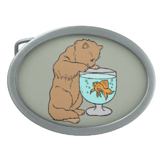 Cat playing with goldfish oval belt buckles