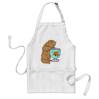 Cat playing with goldfish standard apron