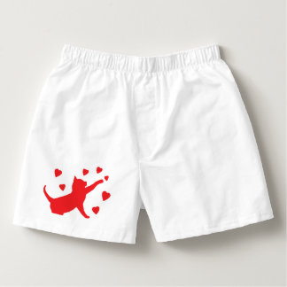 Cat Playing with Hearts in Silhouette Boxers