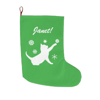 Cat Playing with Snowflakes Name Customizable Large Christmas Stocking