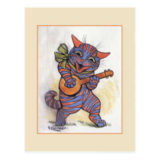 Cat Plays the Banjo Postcard