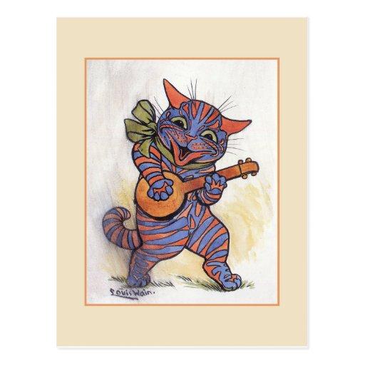 Cat Plays the Banjo Postcard