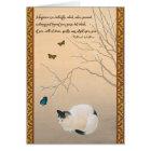 Cat, Plum Blossoms,& Butterflies Japanese Birthday Card