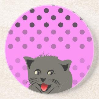 Cat_polka dot_baby girl_pink_desing coaster