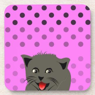 Cat_polka dot_baby girl_pink_desing drink coasters