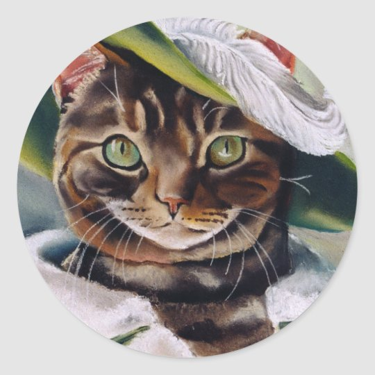 Cat Portrait Classic Round Sticker