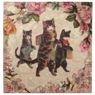 Cat Pretty Vintage Antique Kittens Napkin