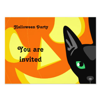 Cat Pumpkin Halloween Invitation
