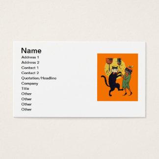 Cat & Pumpkin Masquerade Business Card