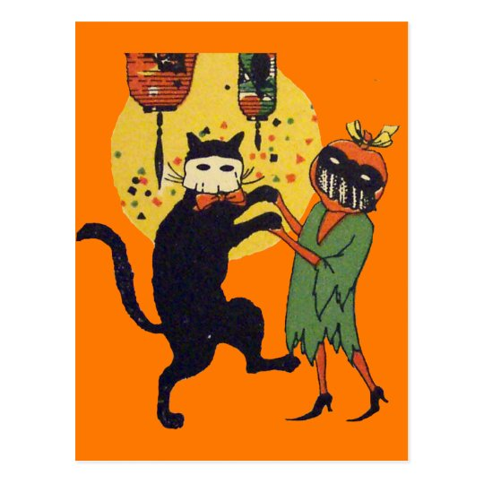 Cat & Pumpkin Masquerade Postcard