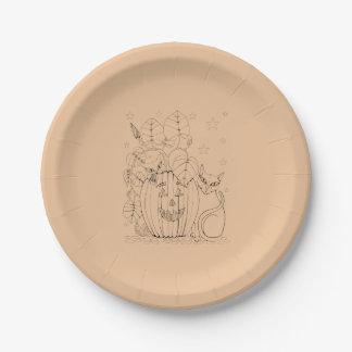 Cat Pumpkin Scene 7 Inch Paper Plate