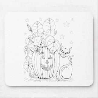 Cat Pumpkin Scene Line Art Design Mouse Pad