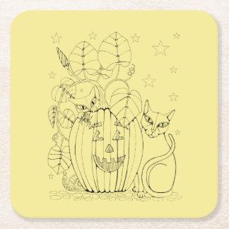 Cat Pumpkin Scene Square Paper Coaster