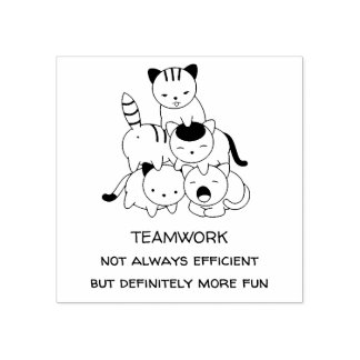 Cat Pyramid - Group of Cats, Teamwork Quote Rubber Stamp