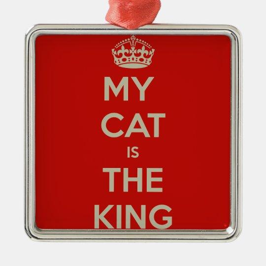 Cat Qoute Silver-Colored Square Ornament