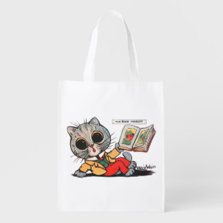 Cat reading a Picture book, Louis Wain Reusable Grocery Bag