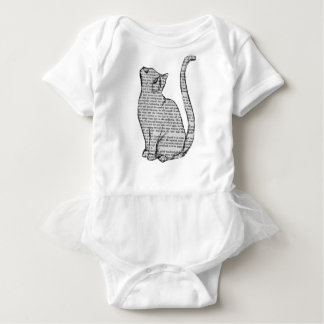 cat reading book sticker baby bodysuit