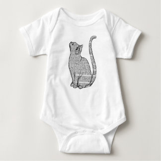 cat reading book sticker baby bodysuit