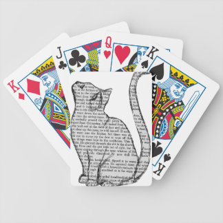 cat reading book sticker bicycle playing cards