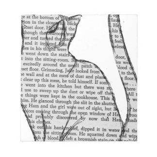 cat reading book sticker notepad