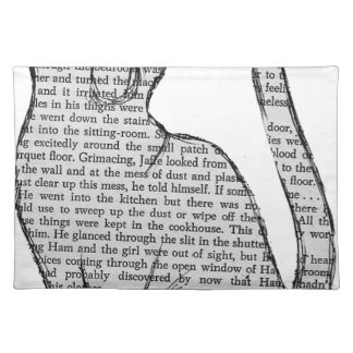 cat reading book sticker placemat