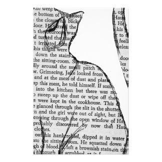 cat reading book sticker stationery