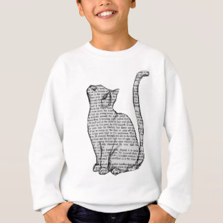cat reading book sticker sweatshirt