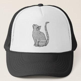 cat reading book sticker trucker hat