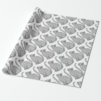 cat reading book sticker wrapping paper