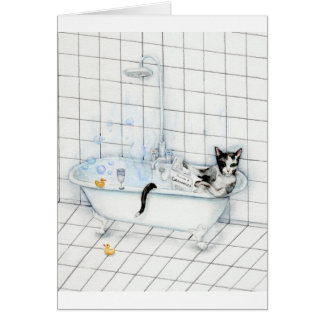 Cat reading newspaper in the bathtub card