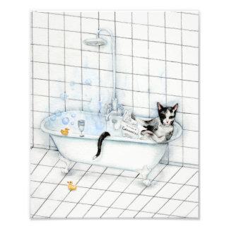 Cat reading newspaper in the bathtub. photo print