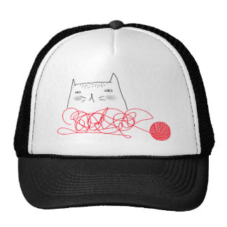 Cat & Red Ball T-shirt Mesh Hats