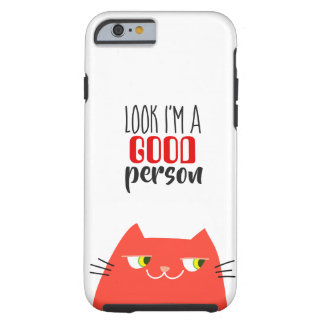Cat Red Hot Devil Funny Good Person Cartoon Cool Tough iPhone 6 Case