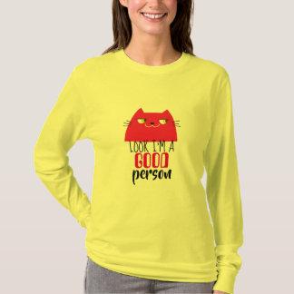 Cat Red Hot Devil Vibrant Funny Good Person Cool T-Shirt