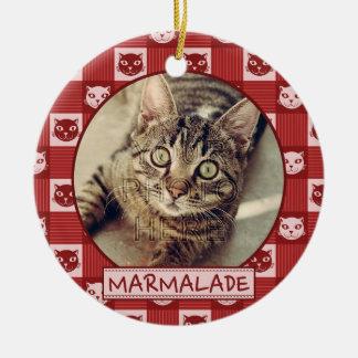 Cat Red Kitty Gingham Cute | Add Custom Photo Name Ceramic Ornament