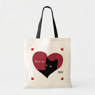 cat red love heart tote bag