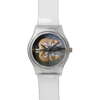 Cat Reflection in Pond Water Funny Photo - women Watches
