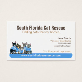 Cat Rescue Non Profit Blue Tagline Business Card
