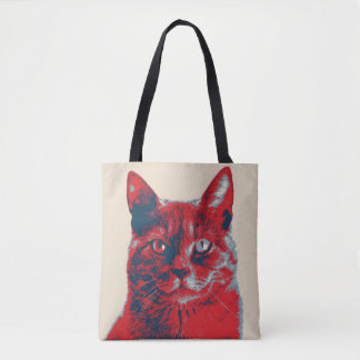 Cat Retro Hope Poster Tote Bag
