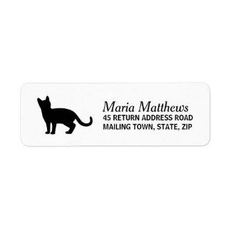 Cat return address label - custom color background