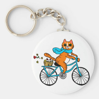 Cat riding a bicycle keychain