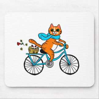 Cat riding a bicycle mouse pad